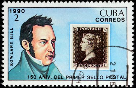 reformer: CUBA - CIRCA 1990: A stamp printed by CUBA shows image portrait of English schoolteacher, social reformer, postal administrator Sir Rowland Hill, circa 1990.