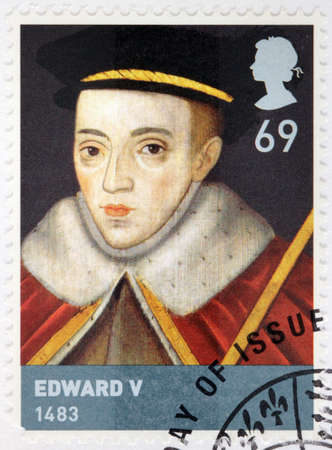 king edward: UNITED KINGDOM - CIRCA 2008: A stamp printed by GREAT BRITAIN shows Edward V - King of England from 9 April 1483 until 26 June of the same year. He was never crowned, circa 2008 Editorial