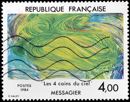 printmaker: FRANCE - CIRCA 1984: A stamp printed by FRANCE shows painting Four Corners of the Sky by famous French painter, sculptor, printmaker and poet  Jean Messagier, circa 1984
