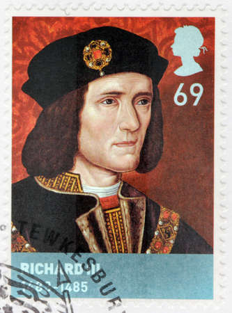 UNITED KINGDOM - CIRCA 2008: A stamp printed by GREAT BRITAIN shows Richard III - King of England from 1483 until his death in 1485 in the Battle of Bosworth Field, circa 2008