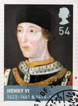 disputed: UNITED KINGDOM - CIRCA 2008: A stamp printed by GREAT BRITAIN shows Henry VI - King of England from 1422 to 1461 and again from 1470 to 1471, and disputed King of France, circa 2008