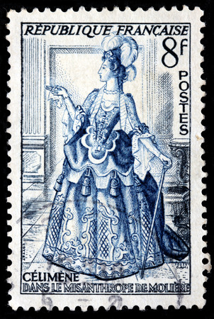 literary: FRANCE - CIRCA 1953: A stamp printed by FRANCE shows Celimene from The Misanthrope, the Literary Character Created by Moliere, circa 1953