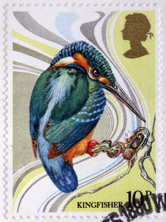 philatelist: UNITED KINGDOM - CIRCA 1980: A stamp printed by GREAT BRITAIN shows Azure kingfisher (Alcedo azurea) - a small brightly colored bird in the order Coraciiformes, circa 1980 Editorial