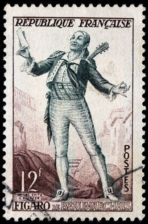 literary: FRANCE - CIRCA 1953: A stamp printed by FRANCE shows Figaro, barber of Seville, the Literary Character Created by French playwright Pierre-Augustin Caron de Beaumarchais, circa 1953