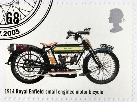 enfield: UNITED KINGDOM - CIRCA 2005: A stamp printed by GREAT BRITAIN shows Royal Enfield - ancient small engined motor bicycle, 1914, circa 2005 Editorial