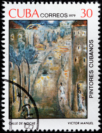 manuel: CUBA - CIRCA 1979: A stamp printed by CUBA shows painting Night Street (Calle de Noche) by Cuban painter of the Avant-garde movement Victor Manuel, circa 1979