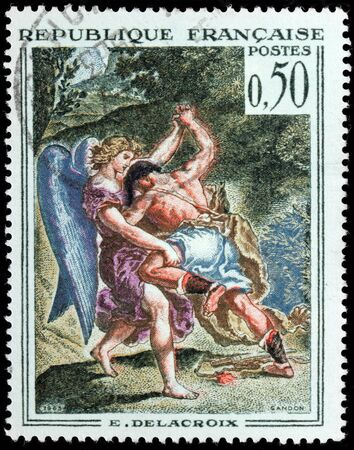 jacob: FRANCE - CIRCA 1963: A stamp printed by FRANCE shows engraving after painting Jakob wrestling with the Angel by famous French Romantic artist Eugene Delacroix, circa 1963