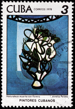 casal: CUBA - CIRCA 1978: A stamp printed by CUBA shows painting floral still life by famous Cuban painter of the Avant-garde generation Amelia Pelaez del Casal, circa 1978