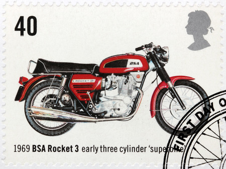 bike cover: UNITED KINGDOM - CIRCA 2005: A stamp printed by GREAT BRITAIN shows early three cylinder superbike BSA Rocket 3, 1969, circa 2005