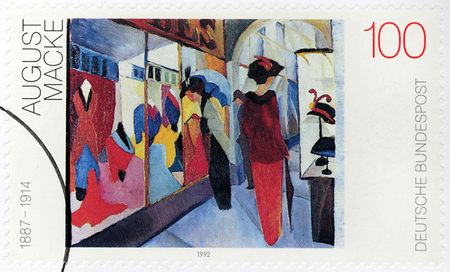 expressionist: GERMANY - CIRCA 1992: A stamp printed by GERMANY shows painting Fashion Store by August Macke - one of the leading members of German Expressionist group The Blue Rider, circa 1992