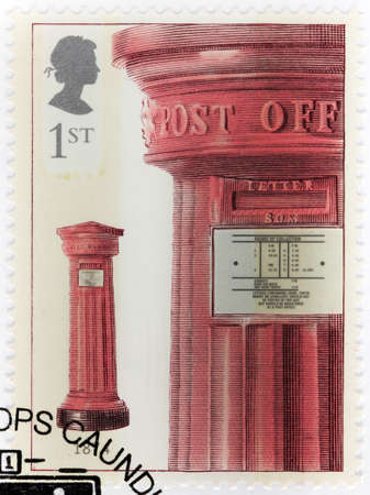 mainland: UNITED KINGDOM - CIRCA 2002: A stamp printed by GREAT BRITAIN shows early British mainland letter box of 1856 design, circa 2002 Editorial