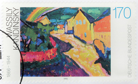 theorist: GERMANY - CIRCA 1992: A stamp printed by GERMANY shows painting Murnau by Russian painter and art theorist Vassily Kandinsky, circa 1992