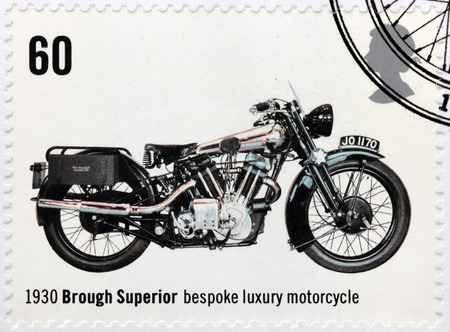 bespoke: UNITED KINGDOM - CIRCA 2005: A stamp printed by GREAT BRITAIN shows Brough Superior - bespoke luxury motorcycle 1930, circa 2005