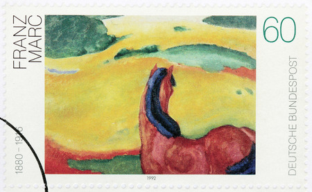 expressionist: GERMANY - CIRCA 1992: A stamp printed by GERMANY shows painting by Franz Marc - German painter and printmaker, one of the key figures of the German Expressionist movement, circa 1992