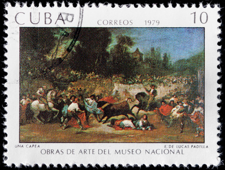 padilla: CUBA - CIRCA 1979: A stamp printed by CUBA shows painting Una Capea by Spanish artist Eugenio Lucas y Padilla, circa 1979