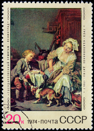 realism: USSR - CIRCA 1974: A stamp printed by RUSSIA shows painting Mother and Child, commonly known as Spoiled Child by French painter Jean-Baptiste Greuze. Hermitage, Saint-Petersburg, circa 1974