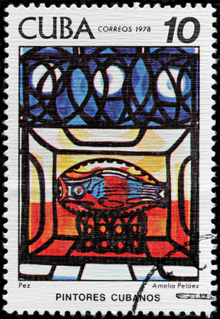 avantgarde: CUBA - CIRCA 1978: A stamp printed by CUBA shows painting The Fish by Amelia Pelaez - an important Cuban painter of the Avant-garde generation, circa 1978