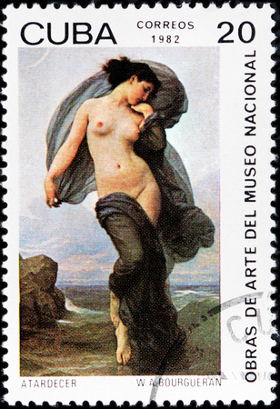 traditionalist: CUBA - CIRCA 1982: A stamp printed by CUBA shows painting Twilight by French academic painter and traditionalist William Adolphe Bouguereau, circa 1982 Editorial
