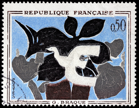 printmaker: FRANCE - CIRCA 1961: A stamp printed by FRANCE shows painting The Messenger by famous French painter, collagist, draughtsman, printmaker and sculptor Georges Braque, circa 1961