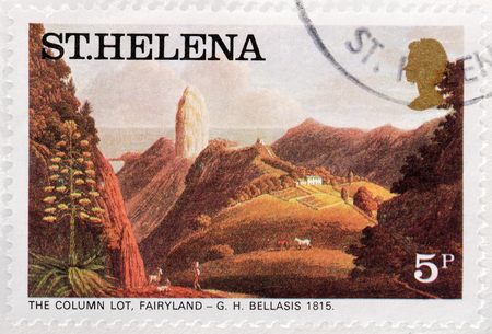 fairyland: SAINT HELENA - CIRCA 1976: A stamp printed by ST. HELENA (GREAT BRITAIN) shows painting The Column Lot, Fairyland by George Hutchins Bellasis, circa 1976