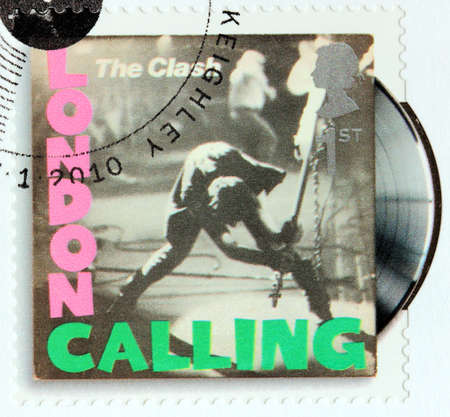 clash: GREAT BRITAIN - CIRCA 2010: A stamp printed by GREAT BRITAIN shows The Clash album London Calling (1979) cover, circa 2010.