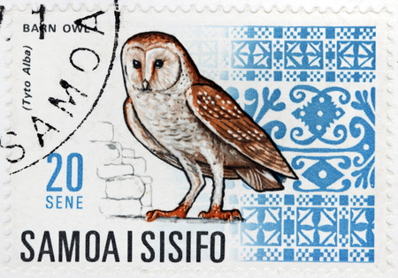 WESTERN SAMOA - CIRCA 1967: A stamp printed by WESTERN SAMOA shows Barn Owl (Tyto Alba) -  the most widely distributed species of owl, circa 1967.