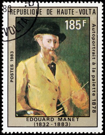 pivotal: UPPER VOLTA - CIRCA 1983: A stamp printed by UPPER VOLTA shows image portrait of French painter Edouard Manet - pivotal figure in the transition from Realism to Impressionism, circa 1983 Editorial