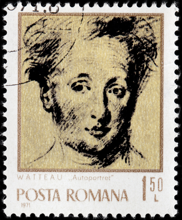 rumania: ROMANIA - CIRCA 1971: A stamp printed by ROMANIA shows image self-portrait of famous French painter Jean-Antoine Watteau better known as Antoine Watteau, circa 1971