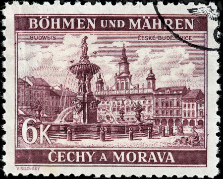 budweis: CZECHOSLOVAKIA - CIRCA 1940: A stamp printed by BOHEMIA AND MORAVIA (German Occupation Issues) shows view of Samson Fountain and Town Hall in Budweis (Ceske Budejovice), circa 1940 Editorial
