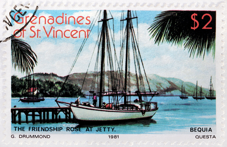 grenadines: GRENADINES OF SAINT VINCENT - CIRCA 1981: A stamp printed by GRENADINES of St. VINCENT shows view of the Freindship Rose at jetty on Bequia Island, circa 1981 Editorial