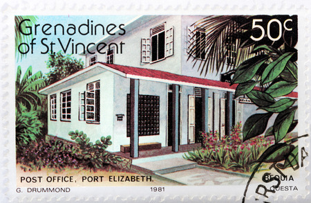 grenadines: GRENADINES OF SAINT VINCENT - CIRCA 1981: A stamp printed by GRENADINES of St. VINCENT shows view of Post Office in Port Elizabeth at the Bequia Island, circa 1981