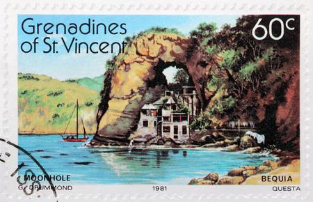 grenadines: GRENADINES OF SAINT VINCENT - CIRCA 1981: A stamp printed by GRENADINES of St. VINCENT shows beautiful view of Bequia Island, circa 1981