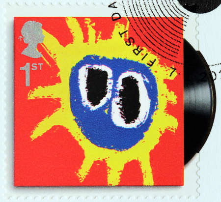 primal: GREAT BRITAIN - CIRCA 2010: A stamp printed by GREAT BRITAIN shows Primal Scream album Screamadelica (1971) cover, circa 2010. Editorial