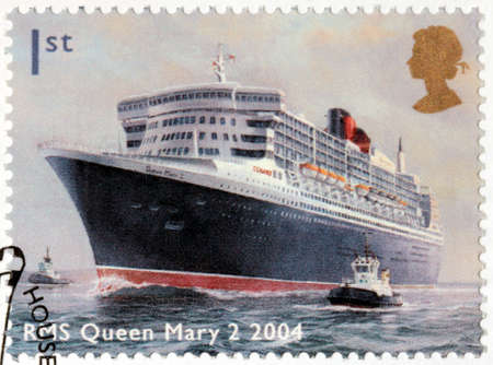 ocean liner: UNITED KINGDOM - CIRCA 2004: A stamp printed by UNITED KINGDOM shows view of famous ocean liner RMS Queen Mary 2, circa 2004 Editorial