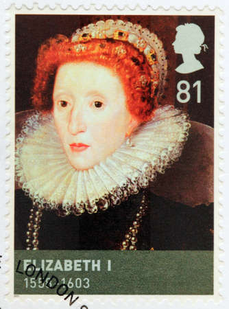 tudor: UNITED KINGDOM - CIRCA 2009: A stamp printed by GREAT BRITAIN shows image portrait of Queen Elizabeth I of England sometimes called The Virgin Queen, Gloriana or Good Queen Bess, circa 2009