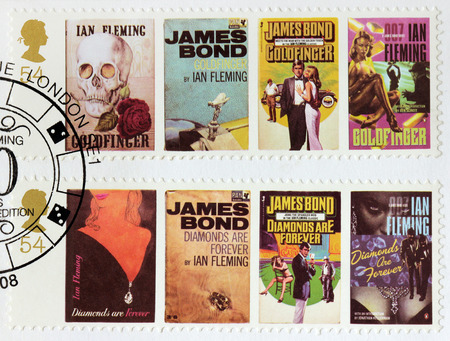 james: UNITED KINGDOM - CIRCA 2008: A set of two stamps printed by GREAT BRITAIN shows images of covers of James Bond Goldfinger and Diamonds are Forever novels by Ian Fleming, circa 2008. Editorial