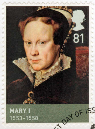 bloody: UNITED KINGDOM - CIRCA 2009: A stamp printed by GREAT BRITAIN shows image portrait of Queen of England Mary I sometimes called Bloody Mary. Portrait by Antonis Mor, circa 2009