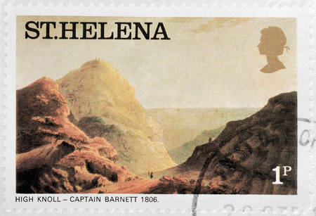 knoll: SAINT HELENA - CIRCA 1976: A stamp printed by ST. HELENA (GREAT BRITAIN) shows painting view of High Knoll - painting by Captain Barnett, circa 1976 Editorial