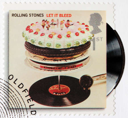 GREAT BRITAIN - CIRCA 2010: A stamp printed by GREAT BRITAIN shows Rolling Stones album Let It Bleed (1969) cover, circa 2010. Editorial