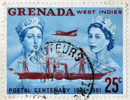 queen elizabeth ii: GRENADA - CIRCA 1961: A stamp printed by GRENADA shows image portraits of Queen Victoria and Queen Elizabeth II, circa 1961