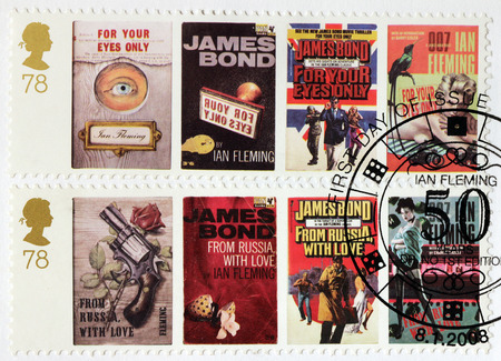 james: UNITED KINGDOM - CIRCA 2008: A set of two stamps printed by GREAT BRITAIN shows images of covers of James Bond For Your Eyes Only and From Russia with Love novels by Ian Fleming, circa 2008.