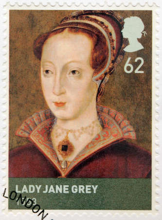 facto: UNITED KINGDOM - CIRCA 2009: A stamp printed by GREAT BRITAIN shows Lady Jane Grey also known as Lady Jane Dudley or The Nine Days Queen - de facto monarch of England, circa 2009