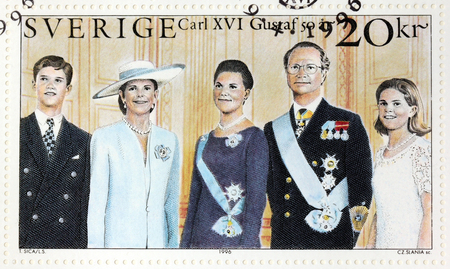 gustaf: SWEDEN - CIRCA 1996: A stamp printed by SWEDEN shows portraits of Prince Carl Philip, Queen Silvia, Crown Princess Victoria, King Carl XVI Gustaf of Sweden, Princess Madeleine, circa 1996