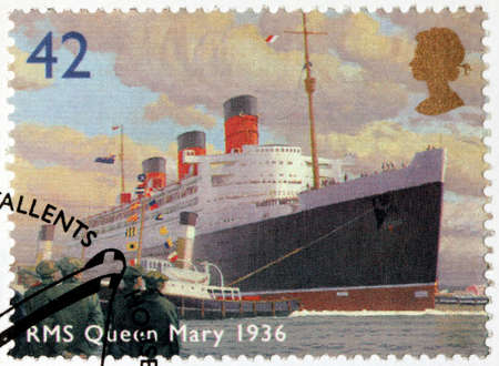 ocean liner: UNITED KINGDOM - CIRCA 2004: A stamp printed by UNITED KINGDOM shows view of famous ocean liner RMS Queen Mary (1936), circa 2004 Editorial