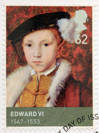 king edward: UNITED KINGDOM - CIRCA 2009: A stamp printed by GREAT BRITAIN shows image portrait of  King of England and Ireland Edward VI. Edward was the third monarch of the Tudor dynasty, circa 2009
