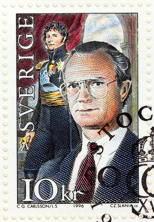 SWEDEN - CIRCA 1996: A stamp printed by SWEDEN shows image portraits of king Charles XIV  John (Jean Baptiste Jules Bernadotte) and King Carl XVI Gustaf, circa 1996 Editorial