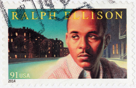 novelist: USA - CIRCA 2014: A postage stamp printed by USA shows image portrait of famous American novelist, literary critic, scholar and writer Ralph Ellison, circa 2014 Editorial