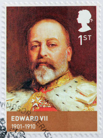 king edward: UNITED KINGDOM - CIRCA 2012: A stamp printed by GREAT BRITAIN shows image portrait of  Edward VII - King of the United Kingdom and the British Dominions and Emperor of India, circa 2012