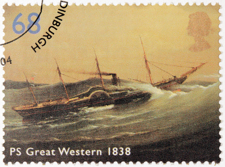 ps: UNITED KINGDOM - CIRCA 2004: A stamp printed by UNITED KINGDOM shows view of PS Great Western, 1838, circa 2004