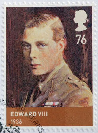 UNITED KINGDOM - CIRCA 2012: A stamp printed by GREAT BRITAIN shows image portrait of  Edward VIII - King of the United Kingdom and the British Dominions and Emperor of India, circa 2012